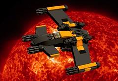 Terminal Sunset (EliteGuard01) Tags: sun lego space ships deadly mercenary ldd starfighter legodigitaldesigner gatlingguns terminalsunset invisiton