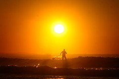 Row, row, row your stand-up paddle board... (Kokkai Ng) Tags: morning sea sun man beach up silhouette sunrise dawn one stand board paddle surfing paddling sup deewhy