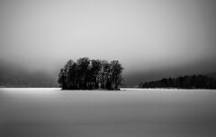 Islet On Winter Lake (bjorbrei) Tags: lake ice snow winter mist fog islet geitøya maridalen maridalsvannet oslo norway