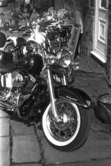 Classic Bikes (Julian Dyer) Tags: vintage blackwhite events yorkshire 35mmfilm ilforddelta400 fujicast705 haworth ilfordddx haworth1940sweekend haworth1940s