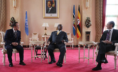 United Nations Secretary-General Ban Ki-moon, President of Uganda, Yoweri Museven and World Bank Group President Jim Yong Kim (World Bank Photo Collection) Tags: world africa kim united great lakes bank jim un uganda ban nations yong kimoon