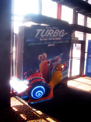 Turbo Racing Snail Light Up Standee 1780 (Brechtbug) Tags: street new york city nyc blue light holiday film computer movie poster spring theater neon theatre character cartoon decoration snail racing billboard lobby turbo ornament ornaments 25 empire animation amc 42nd standee standees 2013 06152013