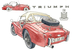 Triumph 1959 (gerard michel) Tags: auto car sketch aquarelle triumph watercolour croquis