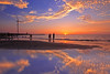 reflections at sunset (Thunderbolt_TW) Tags: sunset sea sky sun reflection water windmill canon landscape taiwan 夕陽 台灣 日落 風景 windturbine 彰化 changhua 風車 彰濱 西濱 肉粽角 彰濱工業區 風景攝影 hsienhsi 線西 5d2 changpingindustryarea