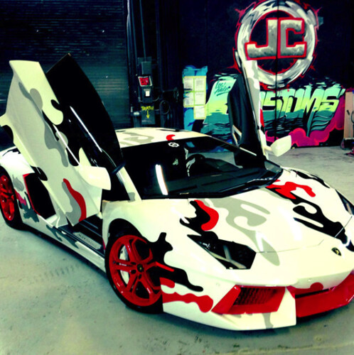 Chris Brown camouflage Lamborghini Aventador video