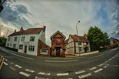 Toy village in the valley (aistora) Tags: road street old uk houses red summer england sky panorama white house distortion brick weather clouds hongkong reading miniature day village estate realestate bend britain twyford sony traditional small property fisheye 180 828 sphere tiny manual curve 8mm berkshire f28 hdr spherical maidenhead whitewash redbrick loddon lightroom 180degrees wokingham deformation nex arhitecture aspherical rver samyang maistora mulie 5r oldbathroad thamesalley emount ttudor oloneo yahoo:yourpictures=weather pwpartlycloudy
