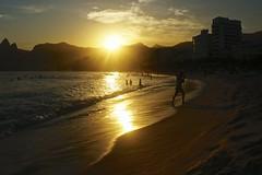 Sunset at Ipanema beach (a l o b o s) Tags: sunset sea brazil sun cute sol praia beach water rio brasil de landscape outdoors atardecer mar sand agua janeiro candid sony playa alegria areana nex5r