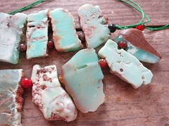 19 Chrysoprase 6 (CGPGemBeads) Tags: brown green rock stone beads natural slice stick rough pendant slab mintgreen freeform chrysoprase topdrilled stickpoint