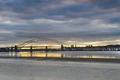 Runcorn Bridges (Jeffpmcdonald) Tags: sunrise cloudy rivermersey silverjubileebridge runcornwidnesbridge pickeringpasture slicesoftime nikond7000 jeffpmcdonald ethelfledabridge rememberthatmoment1 rememberthatmoment2 rememberthatmomentlevet3 sep2013