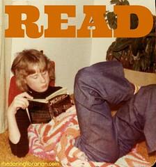 Jones_Read (The Daring Librarian) Tags: nerd jones knitting geek maryland read jeans librarian 70s gwyneth kettering featheredhair gothicnovel thelairdoftariffhall grannysafgan redskinssocks