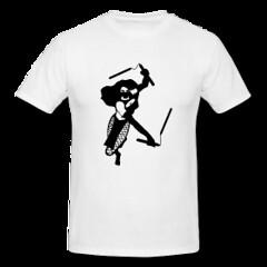 Women's Double Chux Ninja Tee (Who Dares Spinz) Tags: motion logo flow fire skull star chains fight graphics freestyle pattern ninja spin arts womens staff yang spinning poi mens spreadshirt tshirts yin brand vector yinandyang hoodies wds sweatshirts nunchucks nunchaku longsleeves whodaresspinz freechaku spinstorm ssfna freestyleforum