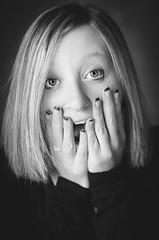 shocked! (sebileiste) Tags: portrait white black girl up closeup 50mm eyes nikon close 14 nikkor weiss schwarz shocked d90 schockiert erschrocken