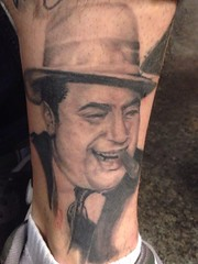 Al Capone portrait tattoo by Wes Fortier at Fountain of Youth Waterbury, CT