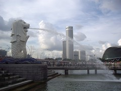 Merlion & Marina Park (Bootnecks) Tags: park sky singapore sands marinapark marinabay merlionpark singaporemerlion