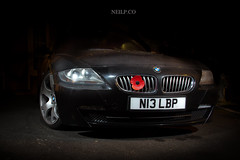 Night Shot (NeilllP) Tags: winter flash low wheels dirty bmw z4 lowered kw stance x5