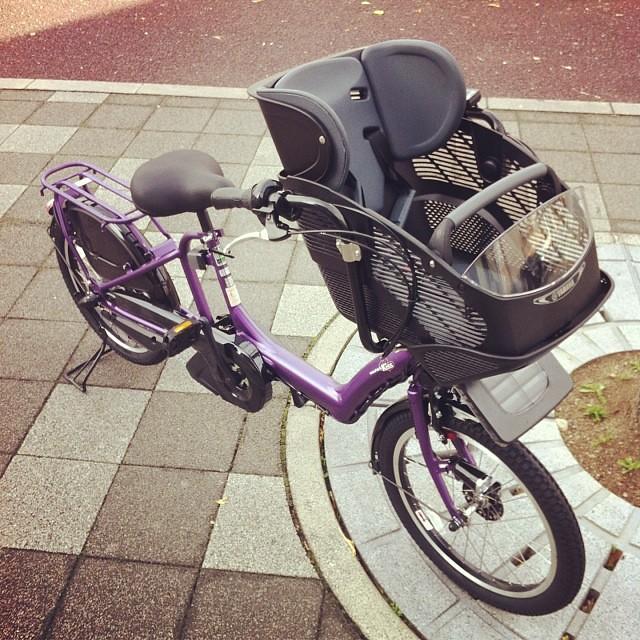 PAS kiss mini 完成しました!小さくてカワイイ!色もパーツがブラックで統一させてるのでモッチリカワイイっす! #ヤマハ #pas #kissmini #eirin #電動アシスト自転車 #三人乗り対応