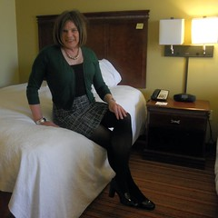 Mini Sitting (krislagreen) Tags: tv sweater shoes legs cd tights skirt hose tgirl transvestite heels miniskirt crossdress tg cardi crossedlegs patent xdresser