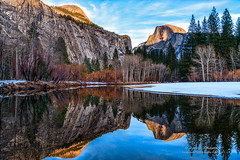 Half Dome (Darvin Atkeson) Tags: california winter mountains reflection classic beautiful clouds forest river print landscape dawn nationalpark unitedstates january scenic merced sierra yosemite stunning mirrored sierranevada skyblue lightplay northdome darvin atkeson darv liquidmoonlightcom lynneal