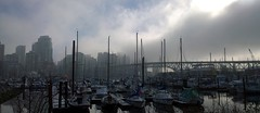 Morning moods (Ruth and Dave) Tags: city bridge sea sky urban sunshine weather fog vancouver clouds marina boats pier skyscrapers harbour jetty wharf falsecreek inlet yachts granvillebridge clearing fishermenswharf moored weatherphotography