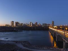 Richmond Skyline (Jim_Cox) Tags: park city bridge building skyline river james virginia dusk richmond rva floodwall
