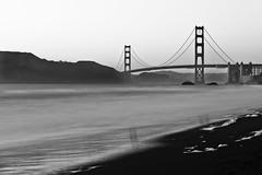 San Francisco, CA - Golden Gate Bridge Long Exposure (DFiveRed) Tags: ocean sanfrancisco california ca longexposure bridge light sunset sun mountains beach water beautiful canon golden bay coast sand gate rocks long exposure waves baker tide marin wave atlantic hills shore goldengate headlands 28135 t1i