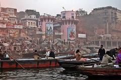 Varanasi Ghats at Dawn (zorro1945) Tags: morning india boats dawn asia religion tourists indie varanasi asie hinduism ganges cremation ghats pilgrims benares riverganges varanasighats holyganges