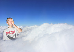Get yo' Head outa da Clouds Boy! (Moral Compass) Tags: boy sky cloud digital photoshop photography brother
