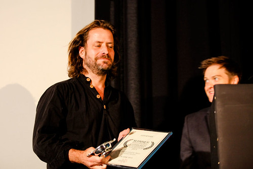 Director of Leviathan Lucian Castaing-Taylor receiving The Michael Powell Award for Best British Feature Film