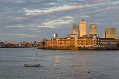 Canary Wharf (MacDor Photography) Tags: sunset london thames river boat canarywharf