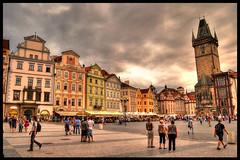 Praga (Mario Iturri M.) Tags: people clock clouds photoshop square nikon republic czech prague central praga hdr checa photomatix d3100