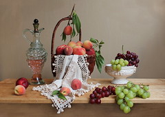 Abundance. (Esther Spektor - Thanks for 7 millions views..) Tags: pink red summer stilllife food brown white color reflection green art texture glass fruits leaves yellow composition canon table beige ceramics branch pattern basket win