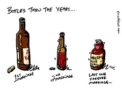 """bottles thru the years"" - an Across the Pond comic by eric Hews  2013 (eric Hews) Tags: copyright illustration last fun virginia funny eric artist comic bottles drawing humor cartoon beverage emo creative first marriage funnies philosophy richmond collection strip divorce second writer comicstrip forever illustrator haha toon behavior society ages 2012 psychology hews erichewscom erichews acrossthepond 2013erichews ennuizle"