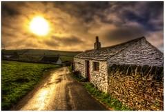 Cregneash Cottage (Heathcliffe2) Tags: road sunset man grass rural village cottage meadow isle cregneash