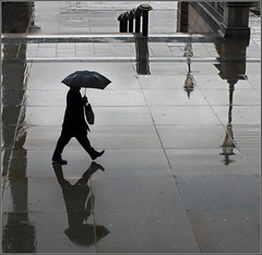 Raindrops and Reflections (jo92photos) Tags: city london rain reflections trafalgarsquare explore