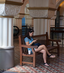 Texting (600tom) Tags: coffee girl mall asian seat column texting