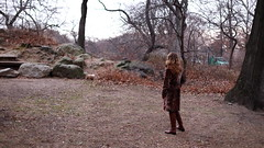 in Central Park (mattselvagn) Tags: park street new york city nyc autumn trees panorama woman dog fall film girl leaves lady female digital 35mm canon lens fur landscape photography 50mm rocks boots walk f14 coat central scenic ef 16x9