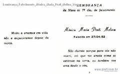 Lembrança Falecimento Mônica Maria Prati Molina Verso