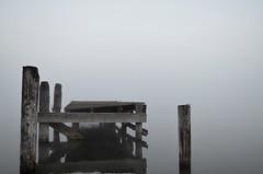 Fog on the Mississippi River (Marsh, D.) Tags: wood morning water fog river dock louisiana mississippiriver hazy peer morningfog smokeonthewater bueche marshd