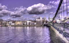 Hammersmith Bridge towards Lower Mall (ArtGordon1) Tags: uk england london thames waterfront hammersmith riverthames hammersmithbridge davegordon lowermall davidgordon artgordon1 daveartgordon daveagordon davidagordon
