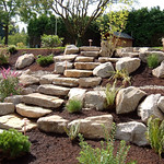 """Greenhaven Landscapes Inc., staircase, stone stair case, outdoor stairs, boulders, dry creek bed, shrubs, outdoor lighting <a style=""""margin-left:10px; font-size:0.8em;"""" href=""""http://www.flickr.com/photos/117326093@N05/12491867014/"""" target=""""_blank"""">@flickr</a>"""