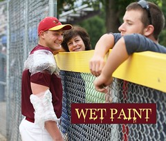 120 - WET PAINT_9292577176_o (Paul L Dineen) Tags: words sayit sports baseball smnotchecked baseballnov17 people addedmar2016 csl csl2014to2016 csl2014to2016b csltodo isdone college