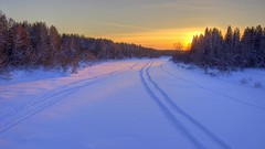 a promise (Sergey S Ponomarev) Tags: road trees winter light sunset shadow sky sunlight snow nature forest canon way landscape golden evening woods frost track sundown russia outdoor ngc freeze rivers neve inverno hdr 20