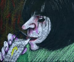 Carolina (Gila Mosaics n'stuff) Tags: portrait art female artist hand profile prismacolor onblack portraitparty jkpp