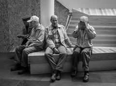 Where the Boys Are (Anne Worner) Tags: street old blackandwhite men bench mono candid seenoevil streetphotography retired retirees grumpyoldmen coveryoureyes anneworner