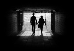 Love tunnel (PhillthyPhill) Tags: street city boy summer bw woman man fling love girl monochrome canon fun couple sweden stockholm young symmetry 7d grayscale crush rookie summerfling
