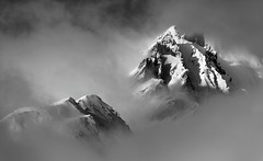peaks in the fog (eichlera) Tags: montblanc france italy alps mountains fog clouds monochrome blackandwhite peak landscape lathuile aosta