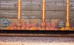 Crow (Chicago City Limits) Tags: freight train graff graffiti benching rails railroad benched freights fr8s art artwork motion steel trains tracks auto racks rack autorack autoracks holy roller rollers crow