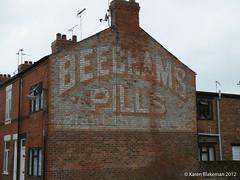 Ghost sign Beecham's Pills (karenblakeman) Tags: uk wales advertising shotton ghostsign beechamspills beechams alexandrastreet paintedwallsign rightthewrong