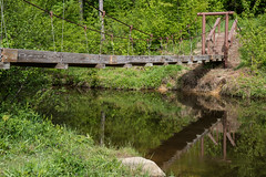 Swinging Bridge (-dangler) Tags: wood bridge camping trees reflection nature grass creek hiking pennsylvania lowlands scenic sunny cable pa trail clarendon inlet warren swinging campground chapmanstatepark dandangler