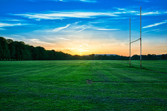 Sunset over Pontcanna Fields (davegriffiths) Tags: sunset wales unitedkingdom rugby cardiff pontcannafields rugbyposts walesuk